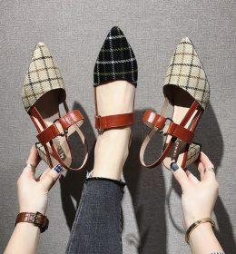 Sandal Wanita Hak tinggi Model Kotak-Kotak