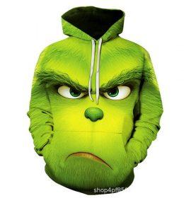 Sweater Hoodie Grinch Hijau 3 Dimensi Import