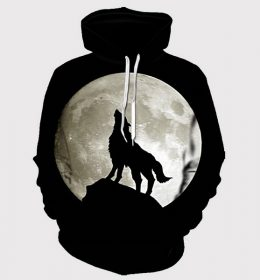 Sweater Hoodie Serigala Hitam 3 Dimensi Import
