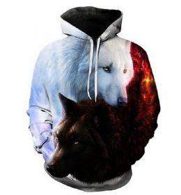 Sweater Hoodie Serigala Kembar 3 Dimensi Import