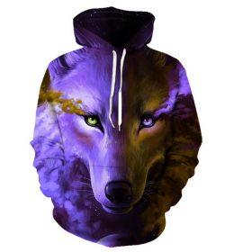 Sweater Hoodie Serigala Salju 3 Dimensi