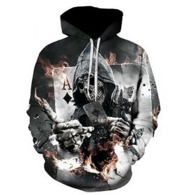 Sweater Hoodie Tengkorak Kartu 3 Dimensi Import