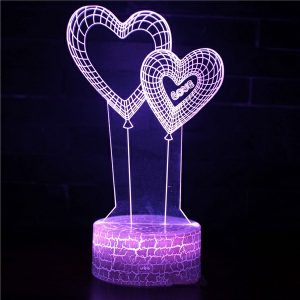 Lampu 3D Model Balon Hati Import