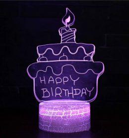 Lampu Tidur 3D Kue Ulang Tahun Import
