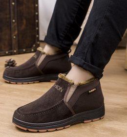 Sepatu Slip On High Pria Hangat Casual dan Formal