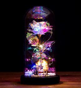 Lampu Tumblr Bunga Mawar dan Boneka Animasi dengan Tabung Kaca