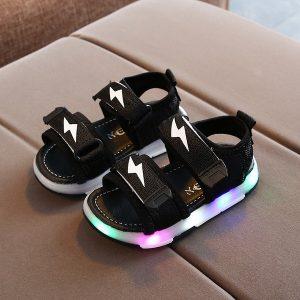 Sepatu Sandal Black LED Import