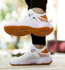 Sepatu Sneakers Tali Kombinasi Orange Putih