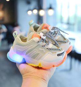 Sepatu LED Anak Sol Rainbow Import