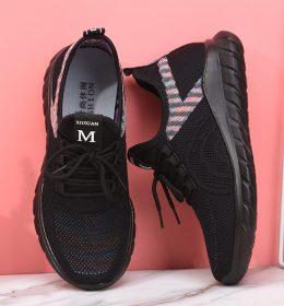 Sepatu Sneakers Wanita Black Rainbow Ala Korea