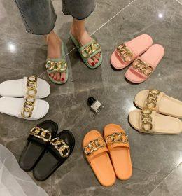 Sandal Wanita 3 rantai Gold Import